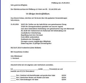 Dieses Rundschreiben erlangten alle Vereinsmitglieder von 1. Vorstand Udo Hildebrand